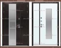 Входная дверь Сильвер 2050 х 1200 Антик серебро / Белый матовый со стекло-пакетом :