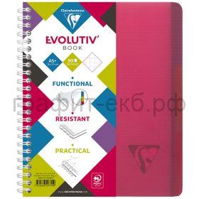 Тетрадь А5+ 90л.кл.Clairefontaine EvolutivBook пластик.обложка красная 329755C_red