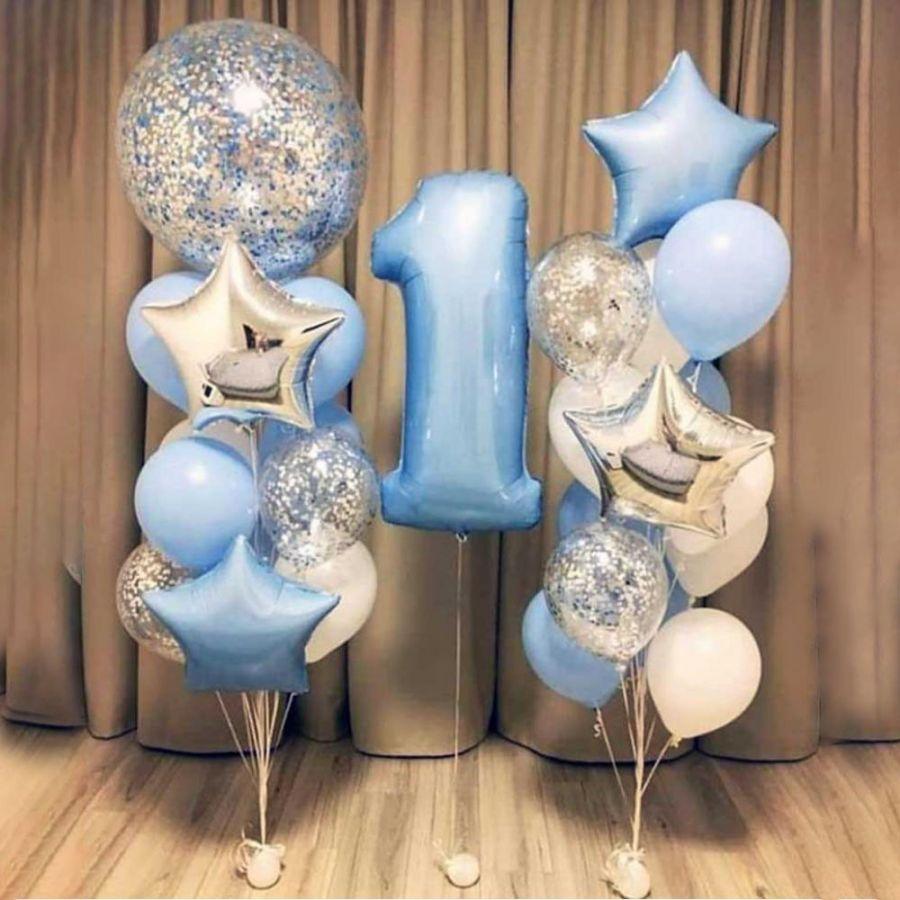 """Набор шаров для мальчика """" 1 год маленькому чуду"""""""