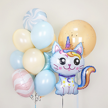 Букет из шаров Кот-Единорог