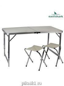 Набор алюминиевый стол + 2 стула 60*90 см  919990 Eastshark