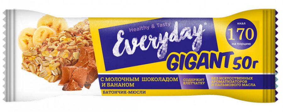 EVERYDAY ГИГАНТ БАТОНЧИК-МЮСЛИ ШОКОЛАД-БАНАН 50 Г