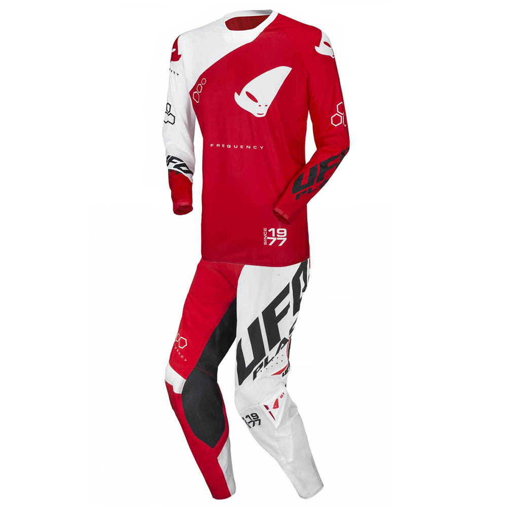 UFO Slim Frequency Neon Red/White джерси и штаны для мотокросса, красно-белые