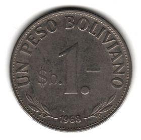 Боливия 1 песо боливиано 1968