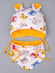 00-0023819  Шапка трикотажная для мальчика с ушками на завязках, цветные мишки + снуд на кнопке, оранжевый