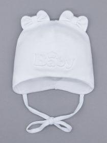 00-0026212  Шапка трикотажная для девочки на завязках, ушки-бантики, Baby, белый
