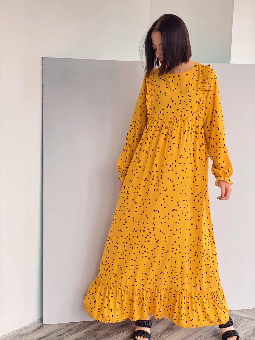 """4308 Платье в цвете """"манго"""" в горошек"""