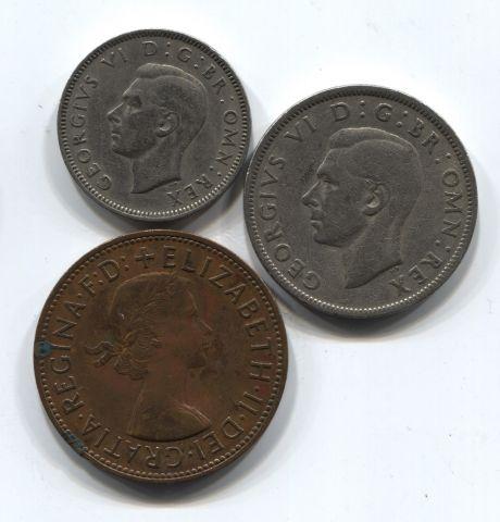 Набор монет Великобритания 1948-1966 3 шт. НАБ БРИТ-002