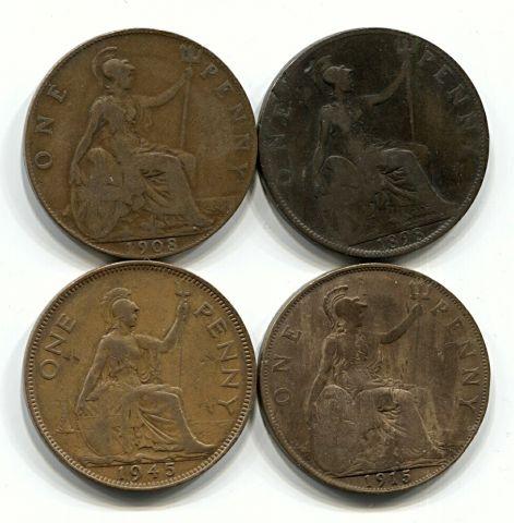 Набор монет Великобритания 1898-1945 4 шт. НАБ БРИТ-003