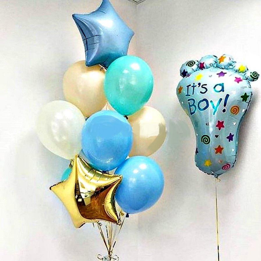 Сет на выписку из роддома  13 шаров  с шаром стопа