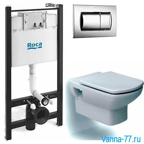 Комплект 4 в 1 Roca (унитаз Dama Senso, сиденье микролифт, инсталляция Roca Active WC, кнопка)  893100000