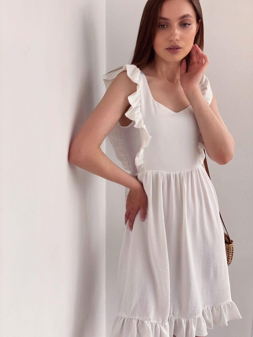 4329 Платье белое в стиле babydoll