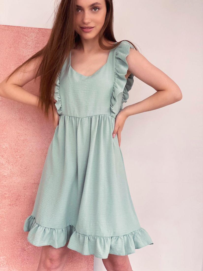 4332 Платье фисташковое в стиле babydoll