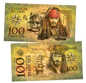 100 piastres (пиастр) — Джек Воробей (Pirates of the Caribbean. Caribbean Islands). Памятная банкнота. UNC