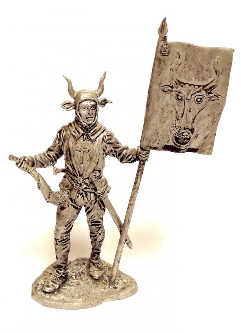 Фигурка Швейцарский знаменосец кантона Ури, 15в олово