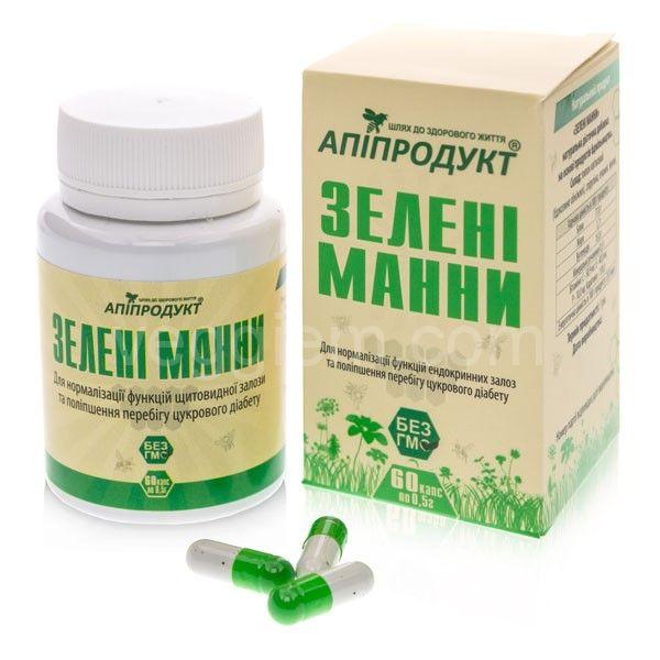 """Зелёные манны ТМ """"Апипродукт"""", 60 капсул"""