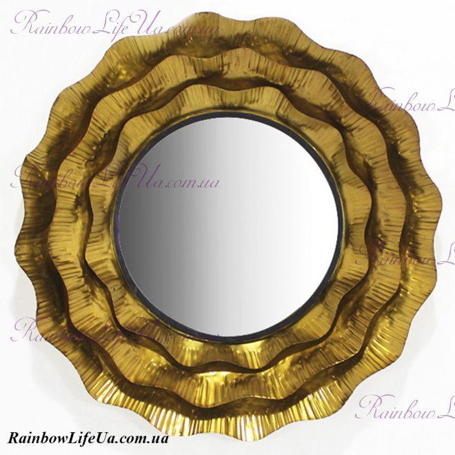 "Настенное зеркало из металла ""Солнце"""