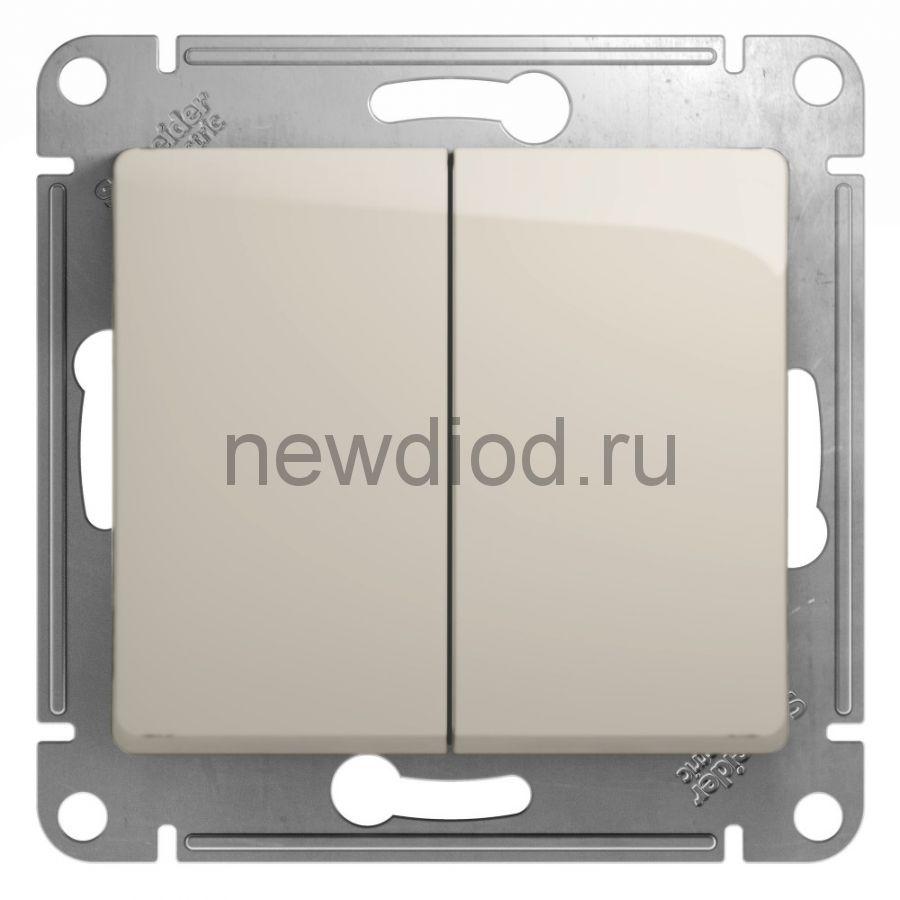 SE Glossa Молочный Выключатель 2-клавишный, сх.5, 10AX