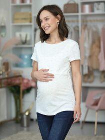 Блузка для беременных и кормящих 1-НМ 36202 белый/черный