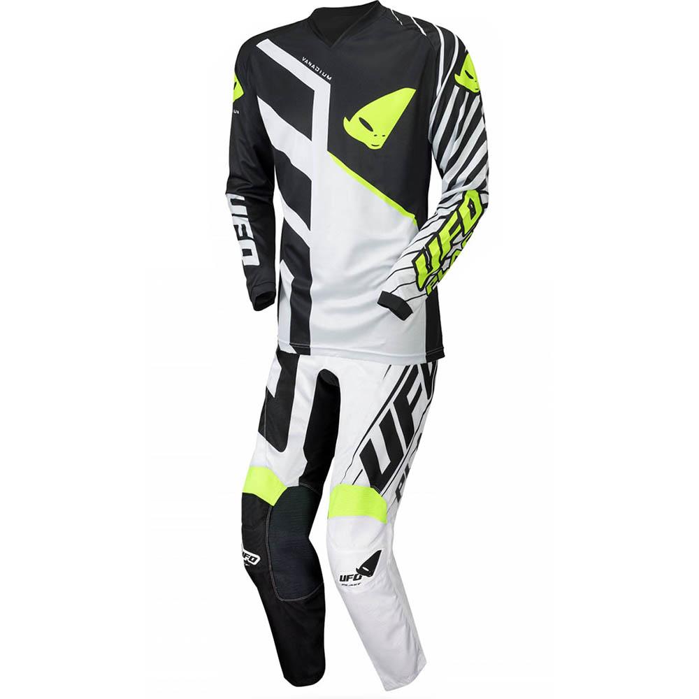 UFO Vanadium Black/White джерси и штаны для мотокросса, черно-белые