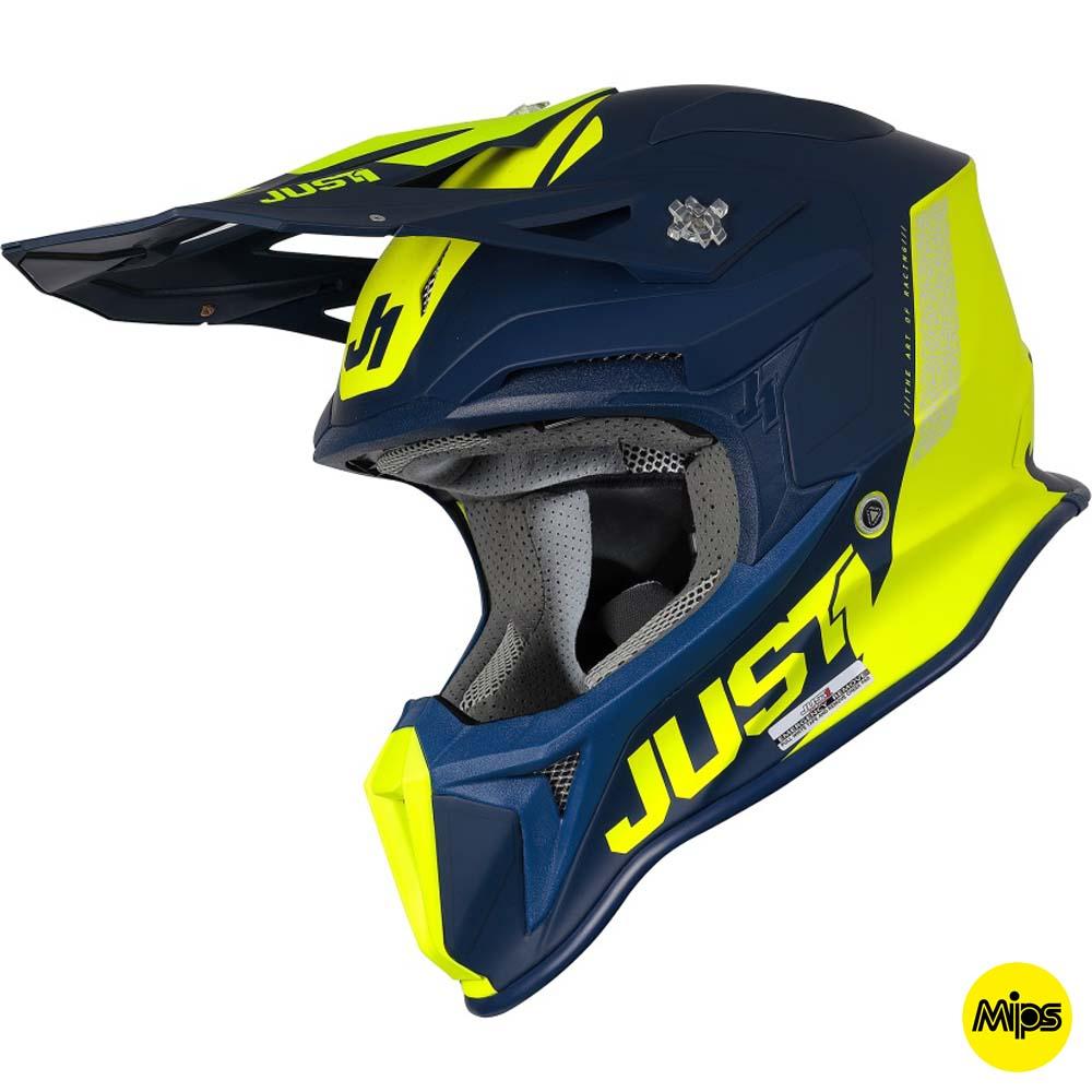 Just1 J18+MIPS Pulsar Fluo Yellow / Blue Matt шлем для мотокросса и эндуро