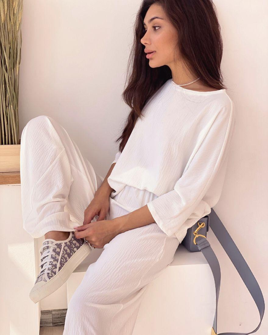 4342 Костюм в пижамном стиле белый