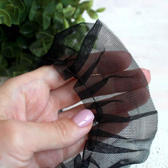 Кружево-сетка рюша, черный 5 см
