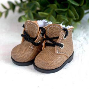 Обувь для кукол 5 см - ботиночки на молнии бежевые