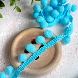 Тесьма с помпонами , ярко-голубая