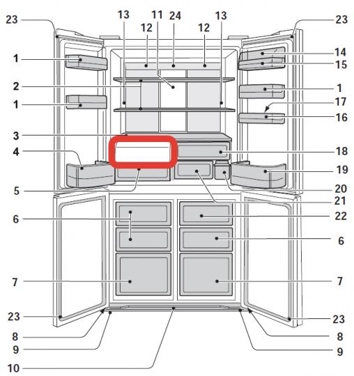 Крышка овощного ящика для четырехдверных холодильников Sharp SJ-FP, SJ-FS