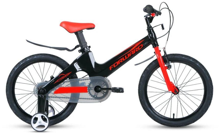 """Детский велосипед FORWARD Cosmo 16 2.0 (16"""" 1 ск.) Чёрный/красный (1BKW1K7C1012)"""