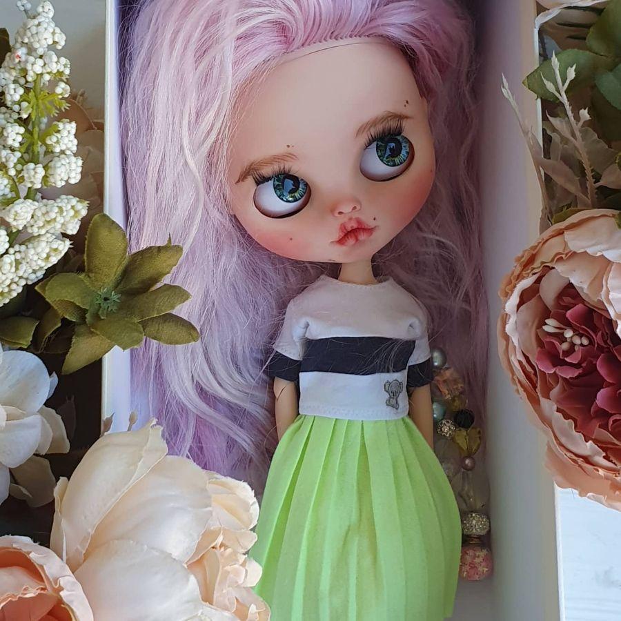 Кукла Блайз кастом Blythe custom с натуральными волосами