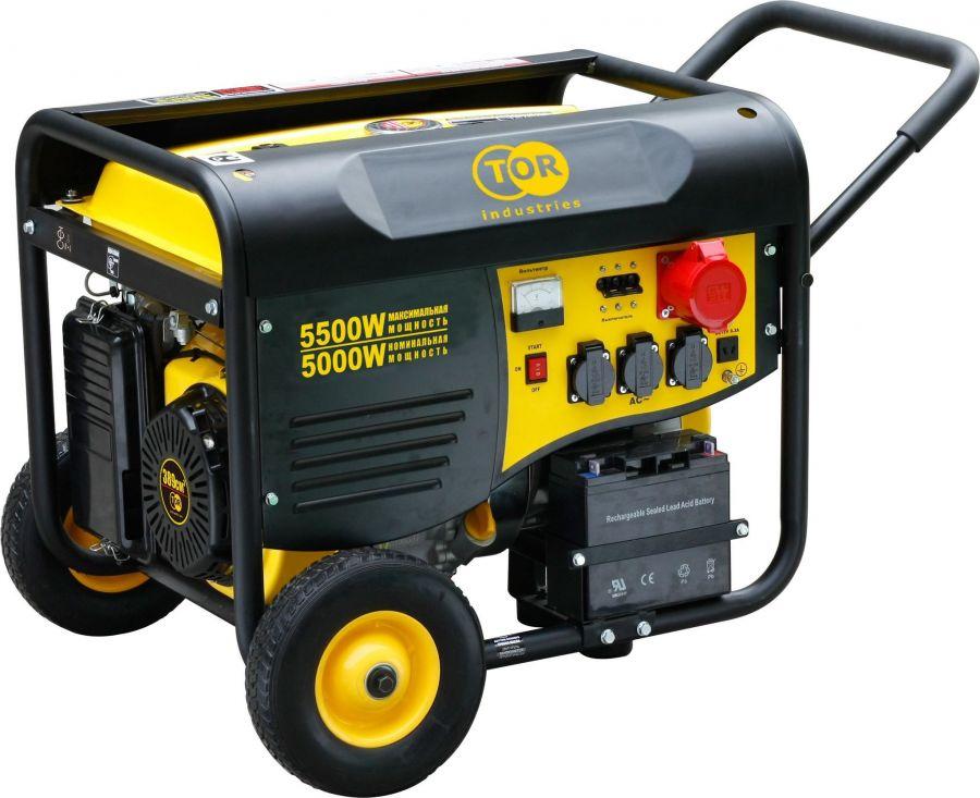 Генератор бензиновый TOR TR6500EW 5,0кВт 220В 25л  с кнопкой запуска и колесами