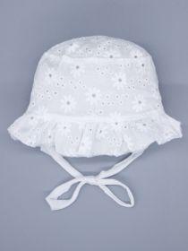 00-0026655  Панама для девочки на завязках, мелкий цветочный узор, молочный