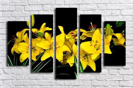 Модульная картина Желтые лилии на черном фоне