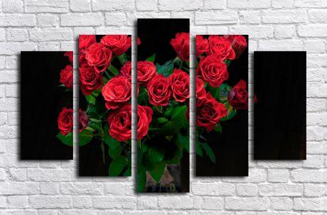 Модульная картина Букет алых роз