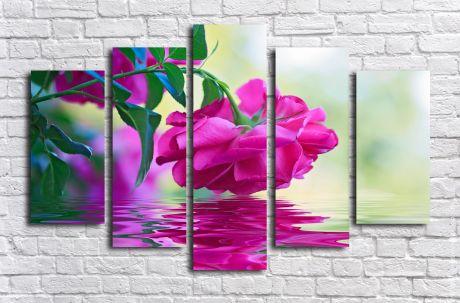 Модульная картина Роза над водой
