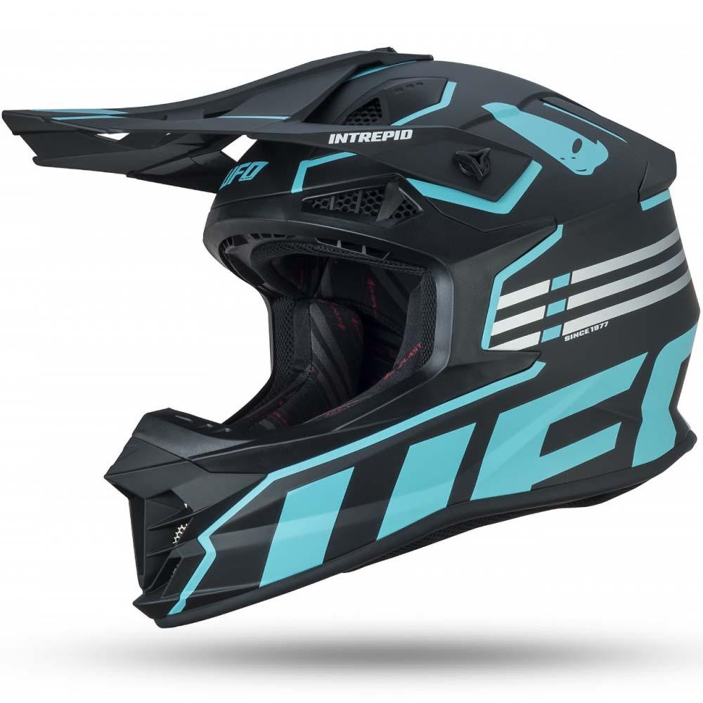 UFO Intrepid Helmet Black/Light Blue шлем для мотокросса, черно-голубой
