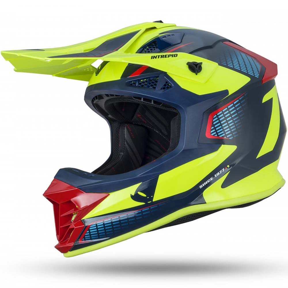 UFO Intrepid Helmet Blue/Red/Neon Yellow шлем для мотокросса, сине-желтый