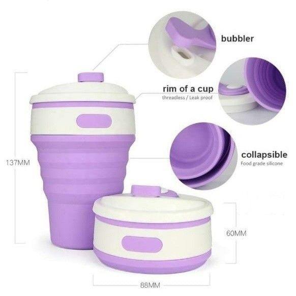 Складная телескопическая силиконовая бутылка для воды 350 мл (06250)