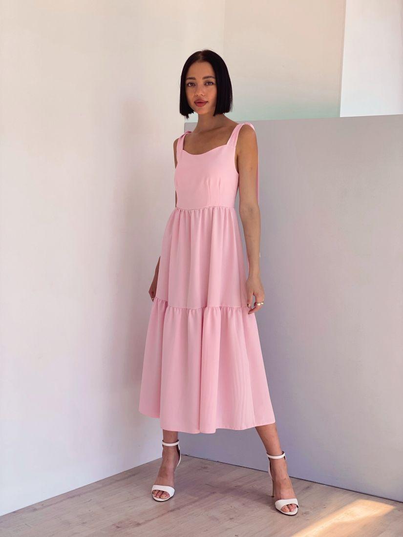4375 Сарафан розовый с фигурным декольте