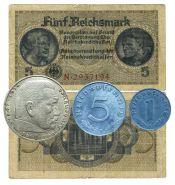 Набор 3 рейх Германия - банкнота + монеты (серебро)