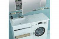 Раковина над стиральной машиной со столешницей Санта Лидер 1000 с кронштейнами, чаша слева