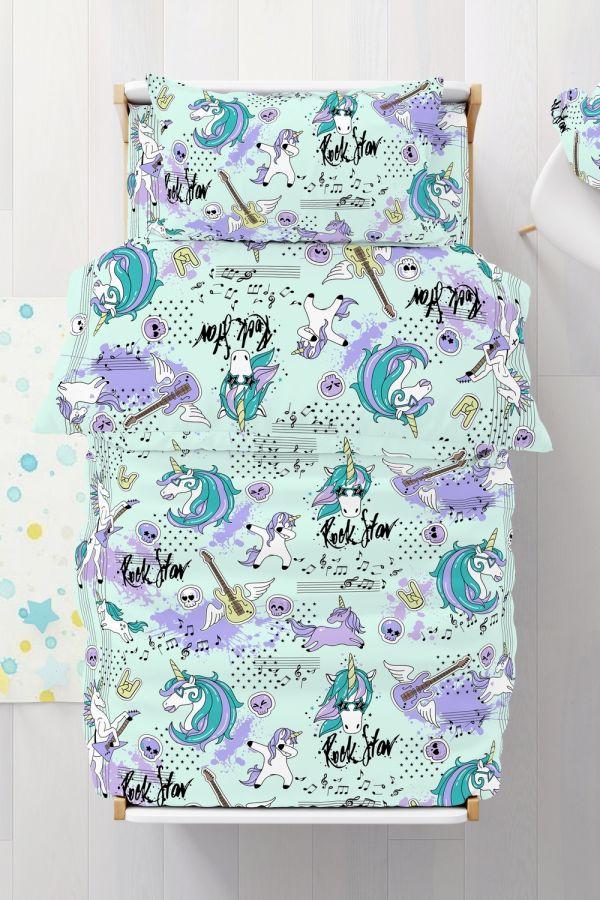 Бязь [голубой] Единорог постельное белье