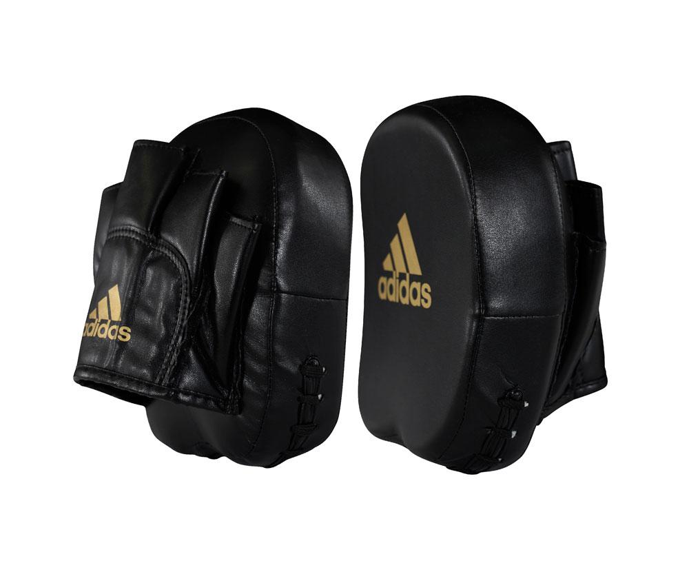 Лапы Adidas Short Focus Mitts черно-золотые,  артикул adiMP02