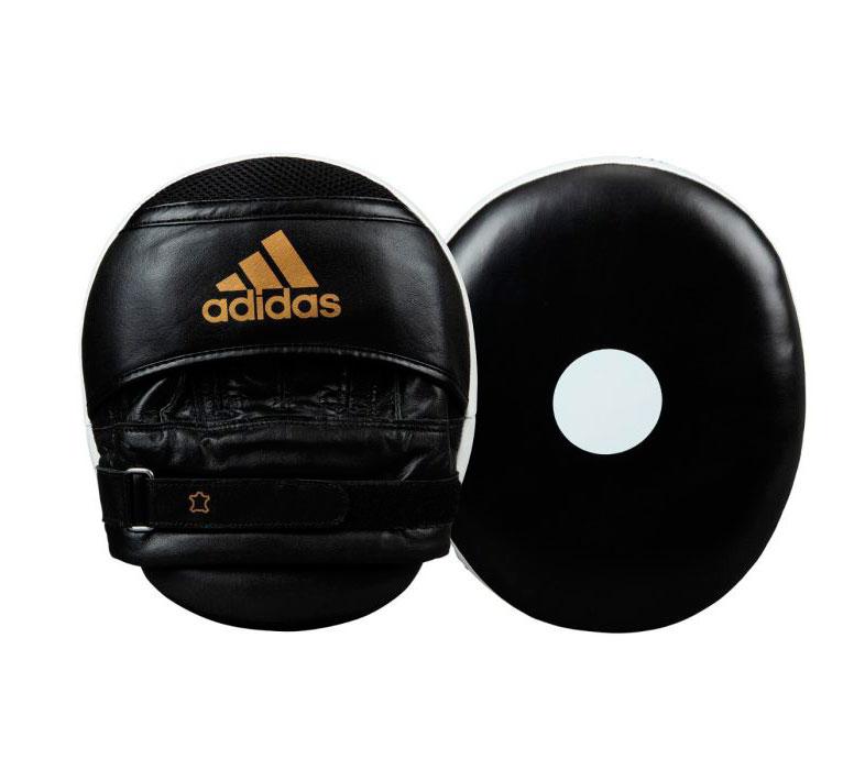 Лапы Adidas Ultimate Classic Air Mitts Vacuum Pad черно-бело-золотые,  артикул adiBAC0112