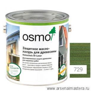 Защитное масло - лазурь для древесины для наружных работ OSMO Holzschutz Ol-Lasur 729 Темно-зеленое 2,5 л