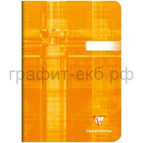 Тетрадь А5 48л.кл.Clairefontaine Mimesys глянцевая ламинация оранжевая 90г/м2 63682C_orange