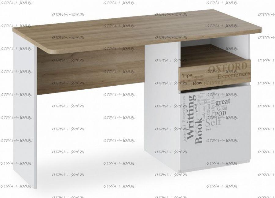 Стол с ящиками Оксфорд ТД-139.15.02 Ривьера/ Белый с рисунком