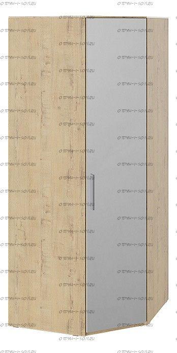 Шкаф угловой с зеркальной дверью Квадро СМ-281.07.007 R правый Бунратти/ Белый глянец